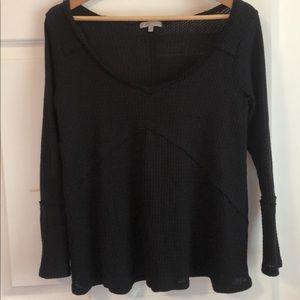 Waffle knit black long sleeve